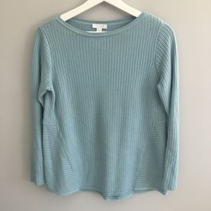 J Jill Chalk Blue Cable Knit Sweater
